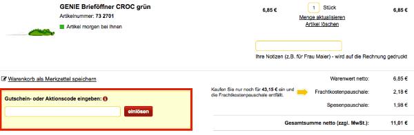 Gutschein im office-discount.de Online-Shop einlösen