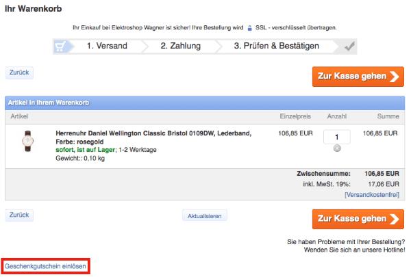 Geschenkgutschein beim Elektroshop Wagner Online-Shop einlösen