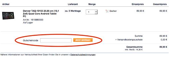 Gutscheincode bei Plus.de einlösen