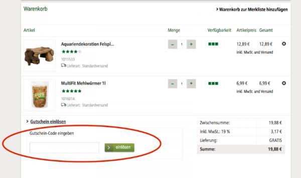 Gutschein von Fressnapf.de einlösen