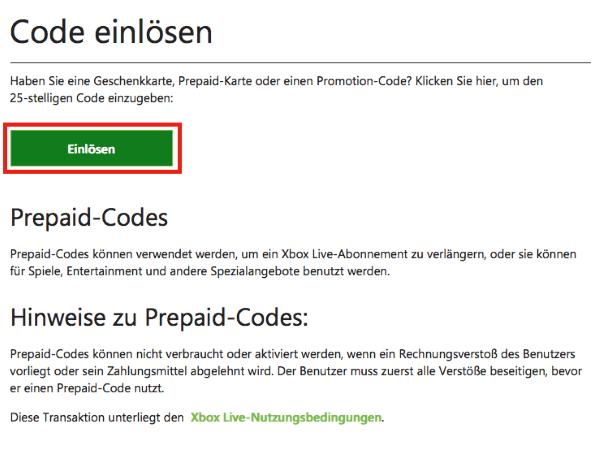 Xbox Gutschein bei Xbox.com einlösen