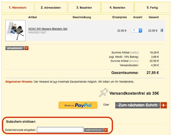 Gutschein bei ADAC.de einlösen