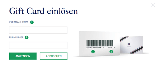 Die Gift Card im Online Shop eingeben