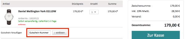 Gutscheincode im uhr.de Online-Shop einlösen