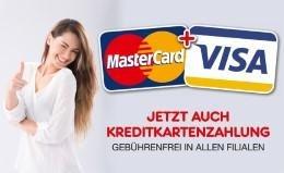 Kreditkartenzahlungen in allen Filialen