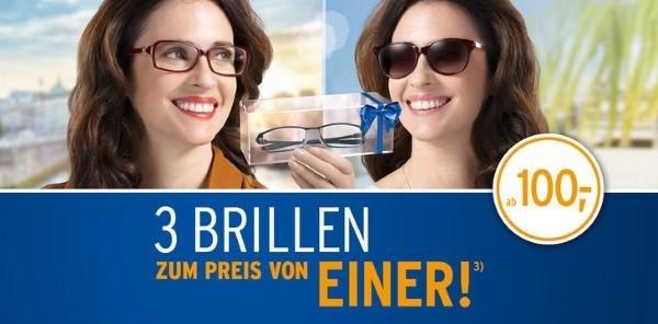 3 Brillen zum Preis von Einer