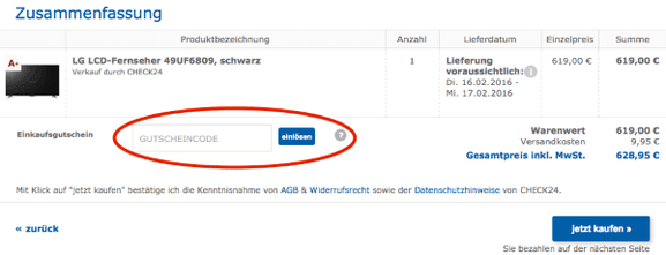 Gutscheincode bei Check24.de einlösen