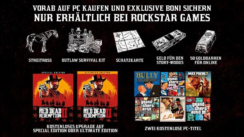 Red Dead Redemption 2 PC Vorbesteller Boni