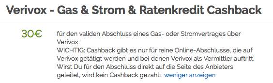 30 cashback f r gas oder stromabschluss ber shoop und verivox bis update. Black Bedroom Furniture Sets. Home Design Ideas
