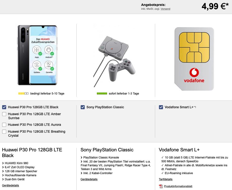 Vodafone Smart L+ (10GB / 15GB LTE) für mtl. 36,99€ mit Huawei P30 Pro + PlayStation Classic für 4,99€ Zuzahlung