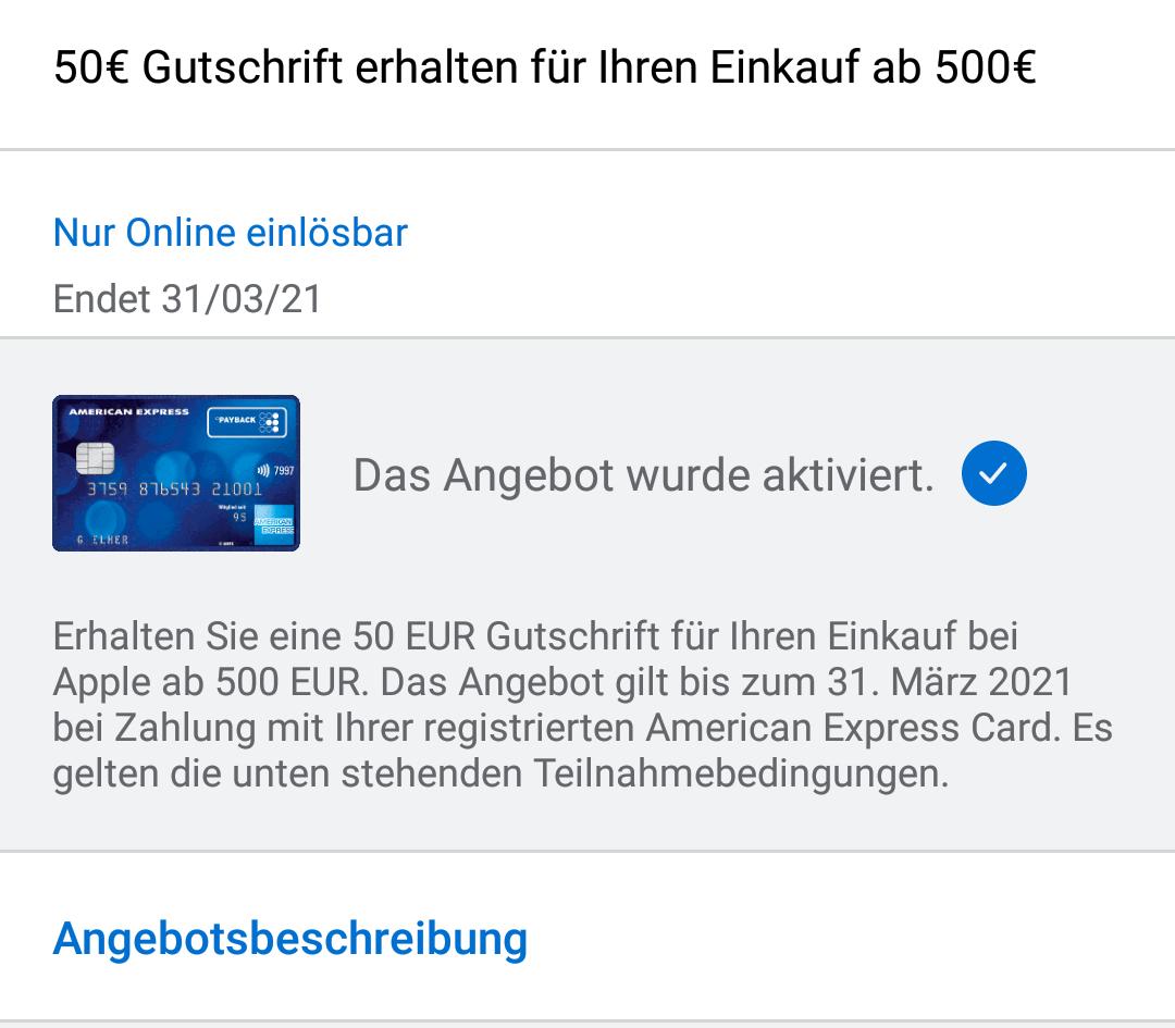 Amex offers ] 10€ Gutschrift für Einkauf ab 100€ bei Apple online