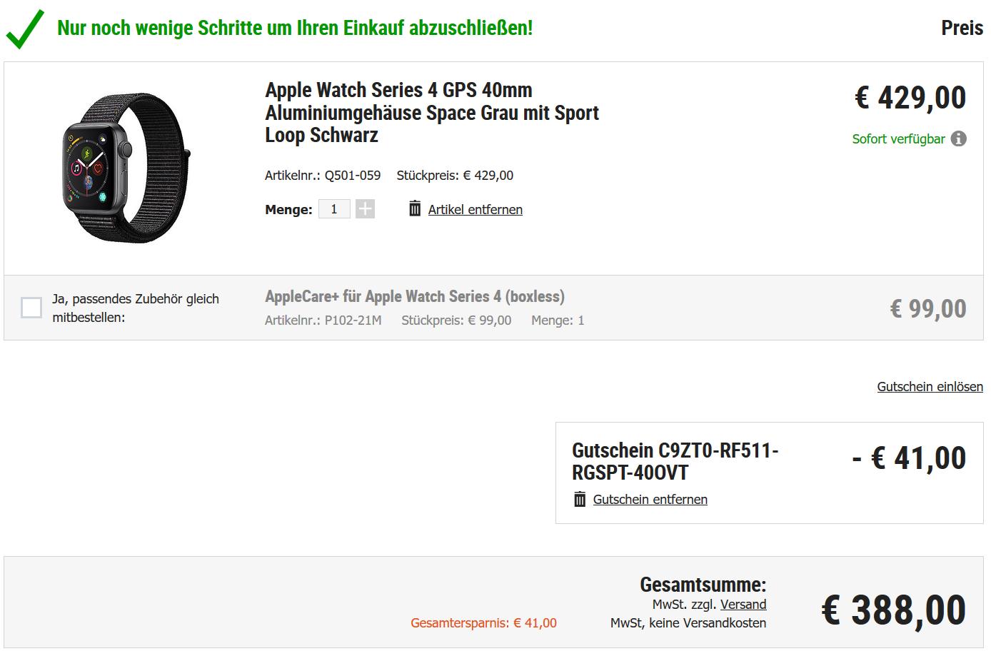 df32d674fd7283 cyberport.de  Alle Apple Watch 4 40mm GPS 388€ (mit Shoop 374 ...