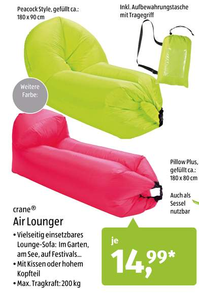 aldi s d crane air lounger f r jeweils 14 99 ab. Black Bedroom Furniture Sets. Home Design Ideas