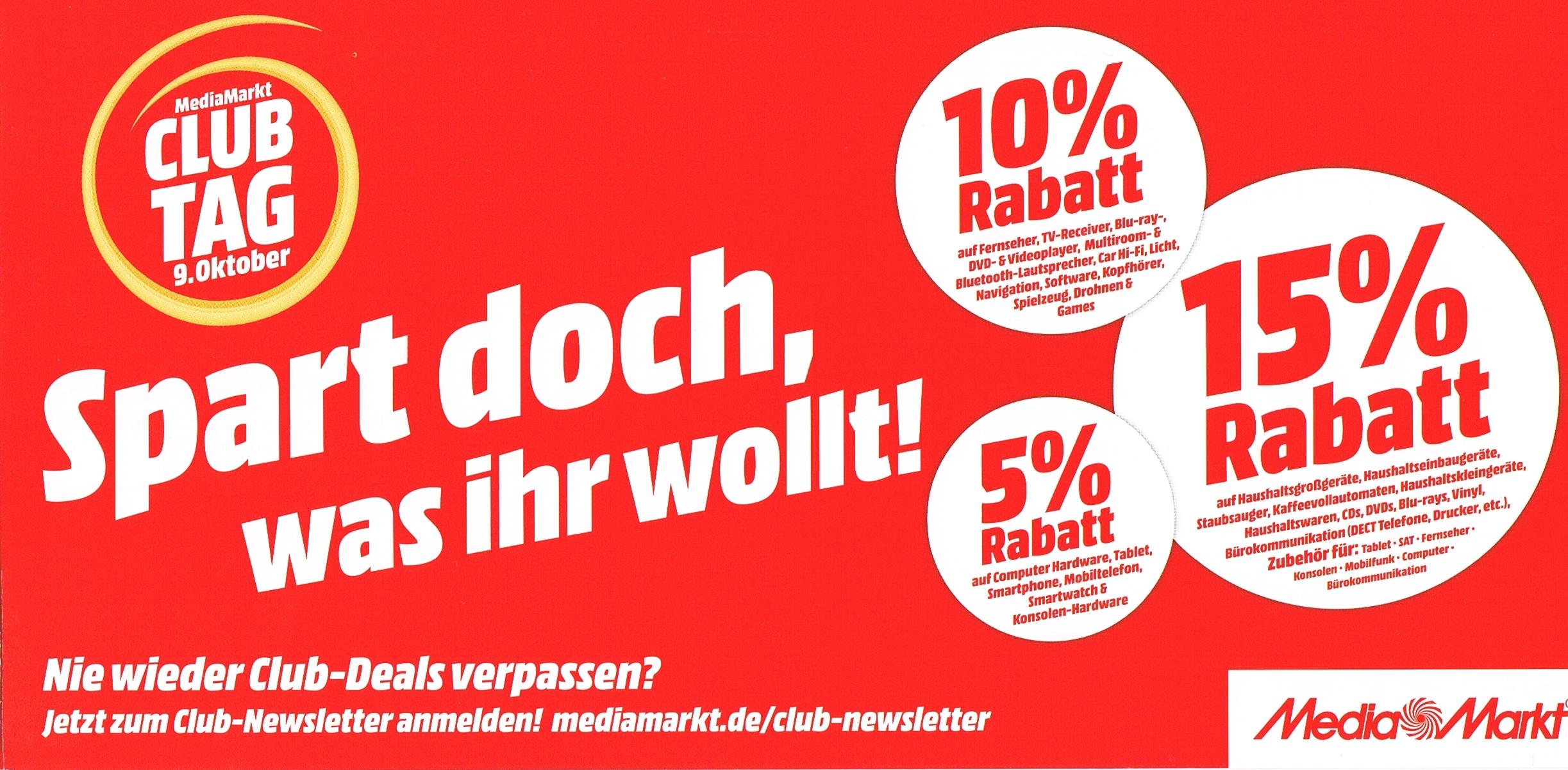 1a6c78e40adecf Media Markt Club Tag bis zu 15% Rabatt - mydealz.de