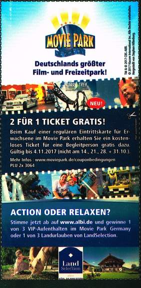 2 f r 1 ticket f r movie park bottrop auf albi fruchts ften bei m ller f r 99 cent im angebot. Black Bedroom Furniture Sets. Home Design Ideas