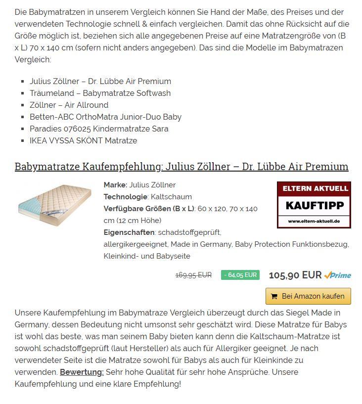 Julius Zöllner Matratze Dr Lübbe Air Premium 70 X 140 Cm Mydealzde