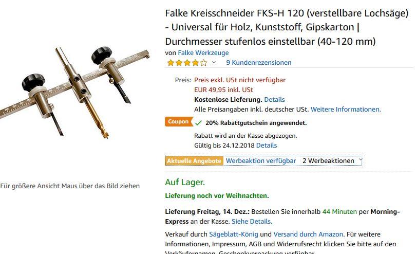 Amazon Falke Kreisschneider Fks H120 20 Rabattgutschein Mydealz De