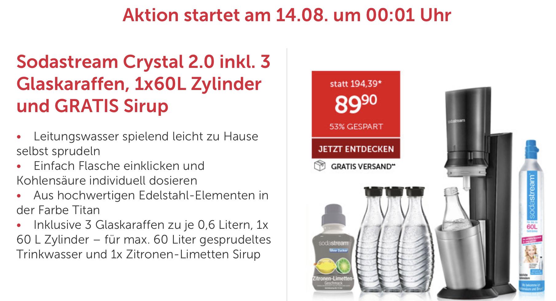 Sodastream Crystal 2 0 Promopack Titan Mit 3 Glaskaraffen U Sirup
