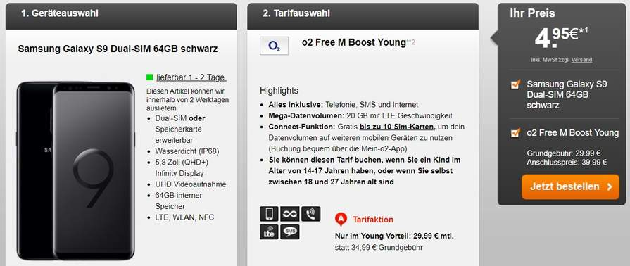 O2 Free M Boost Young 20gb Lte Für 2999 Im Monat Samsung Galaxy