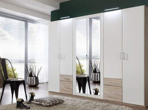 breiter kleiderschrank in alpinwei eiche 2 70m 6 t rig. Black Bedroom Furniture Sets. Home Design Ideas