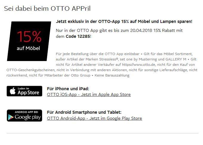 15% auf Möbel über die Otto App bis zum 20.04 + 0,00 € Versand ...