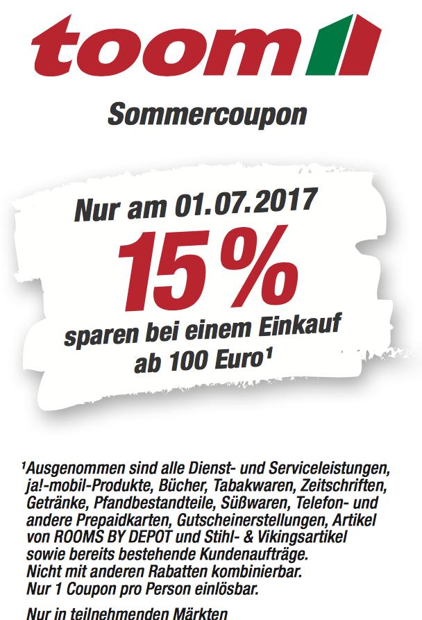 Am 1.7. gibt es 15% Rabatt im toom Baumarkt ab 100€ --> z.B. ...