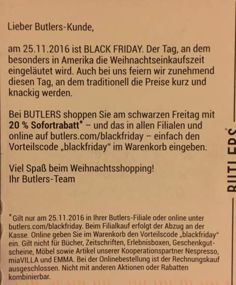 butlers black friday 20 rabatt online und offline. Black Bedroom Furniture Sets. Home Design Ideas