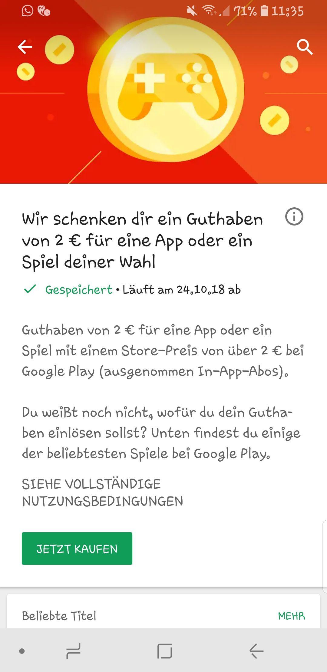 Google Play Schenkt 2EUR Wenn Man Eine App Oder Spiel Von Uber Kauft Musste Wahrscheinlich Auch Bei In Kaufe Funktionieren
