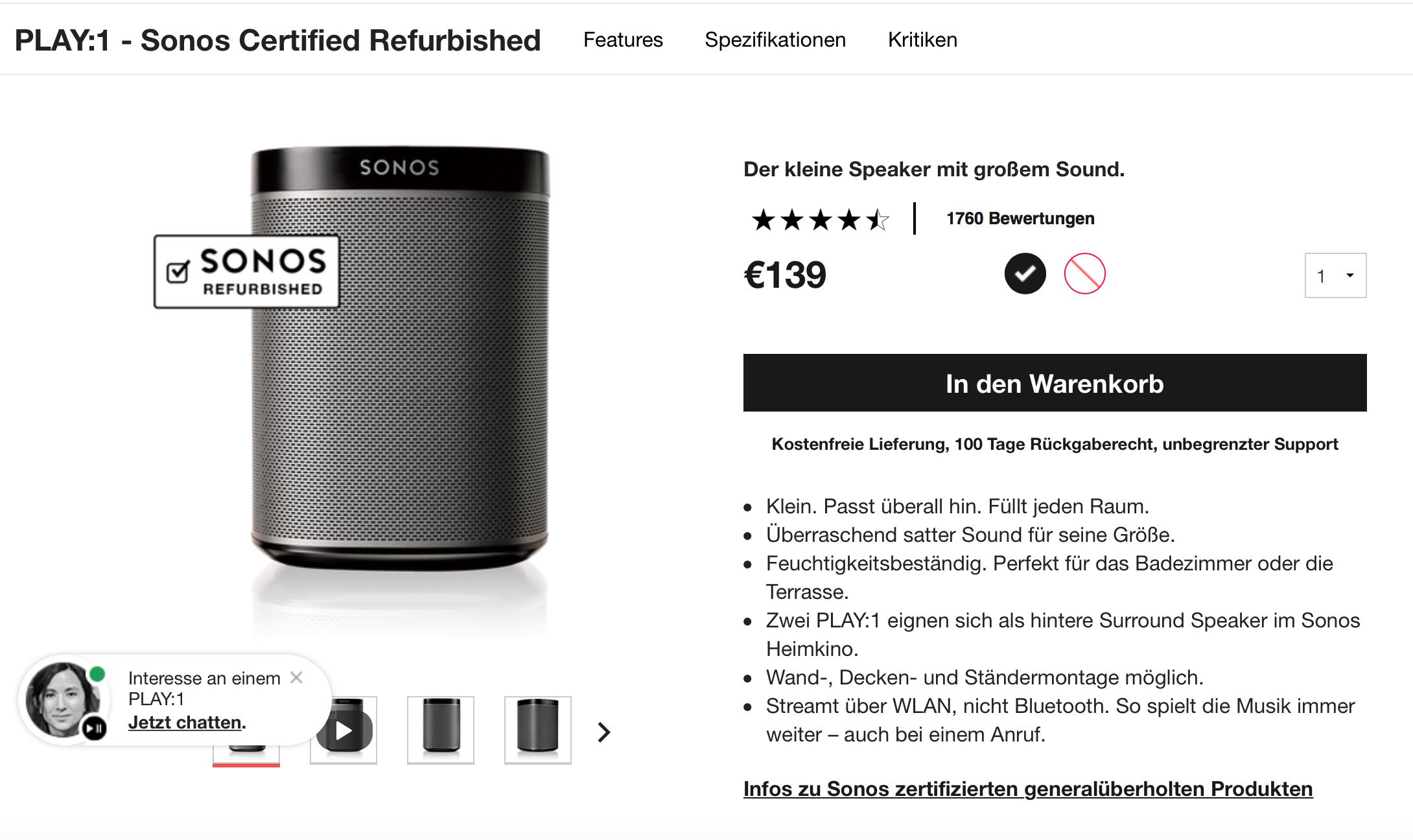 Sonos Play:1 für 139,- € als Refurbished direkt von Sonos ...