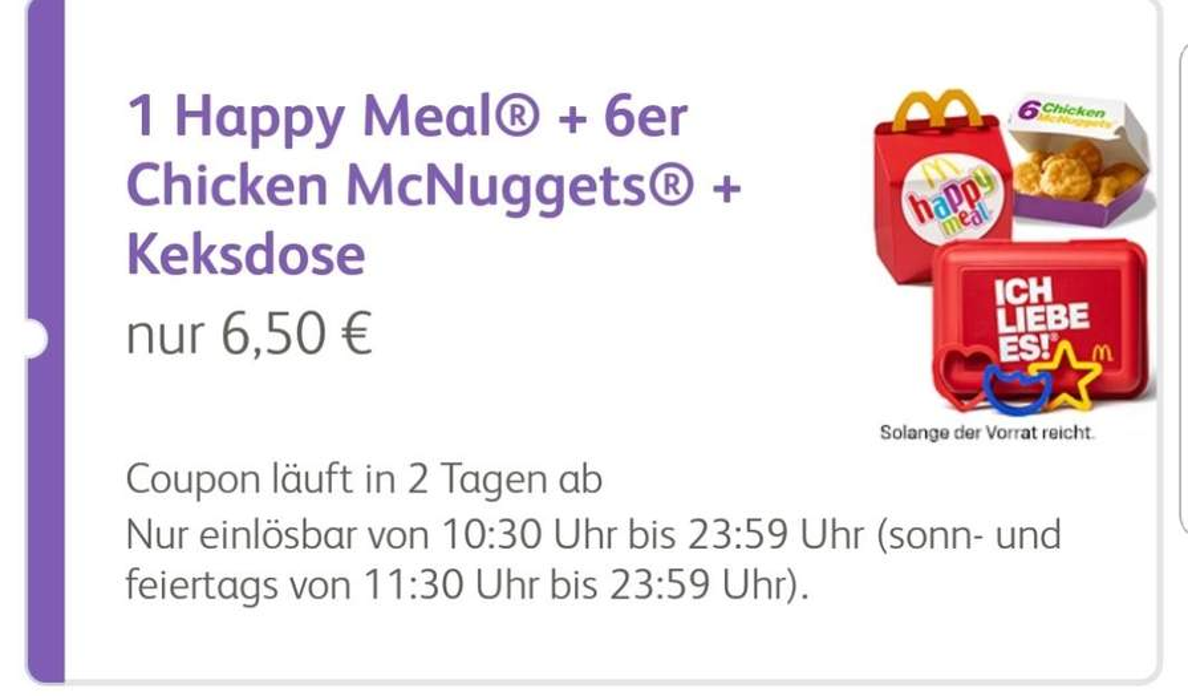 Mcdonalds Happy Meal 6er Mcnuggets Keksdose Für 650 Mydealzde