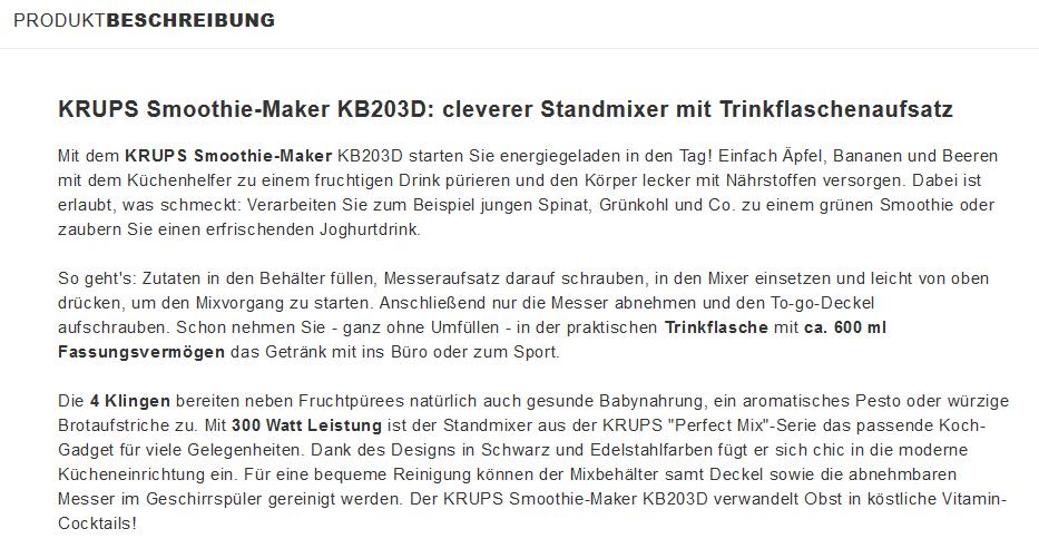 krups standmixer smoothie maker kb203d inkl versand xxxl lutz. Black Bedroom Furniture Sets. Home Design Ideas