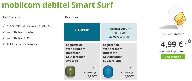 Mobilcom Debitel Smart Surf Mit 1gb Lte Im O2 Netz Für 499 Monat