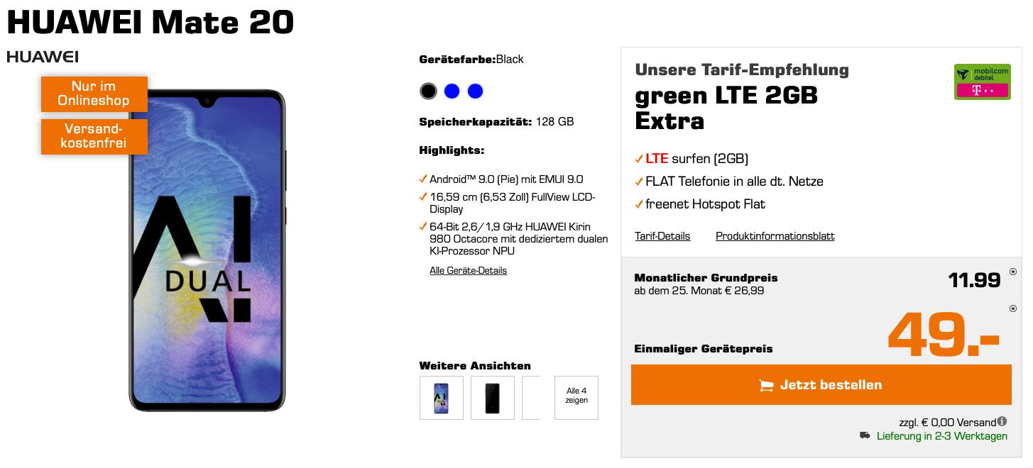 Mobilcom-Debitel Telekom / Vodafone (2GB LTE) mtl. eff. 11,99€ + Huawei Mate 20 für 49€ Zuzahlung