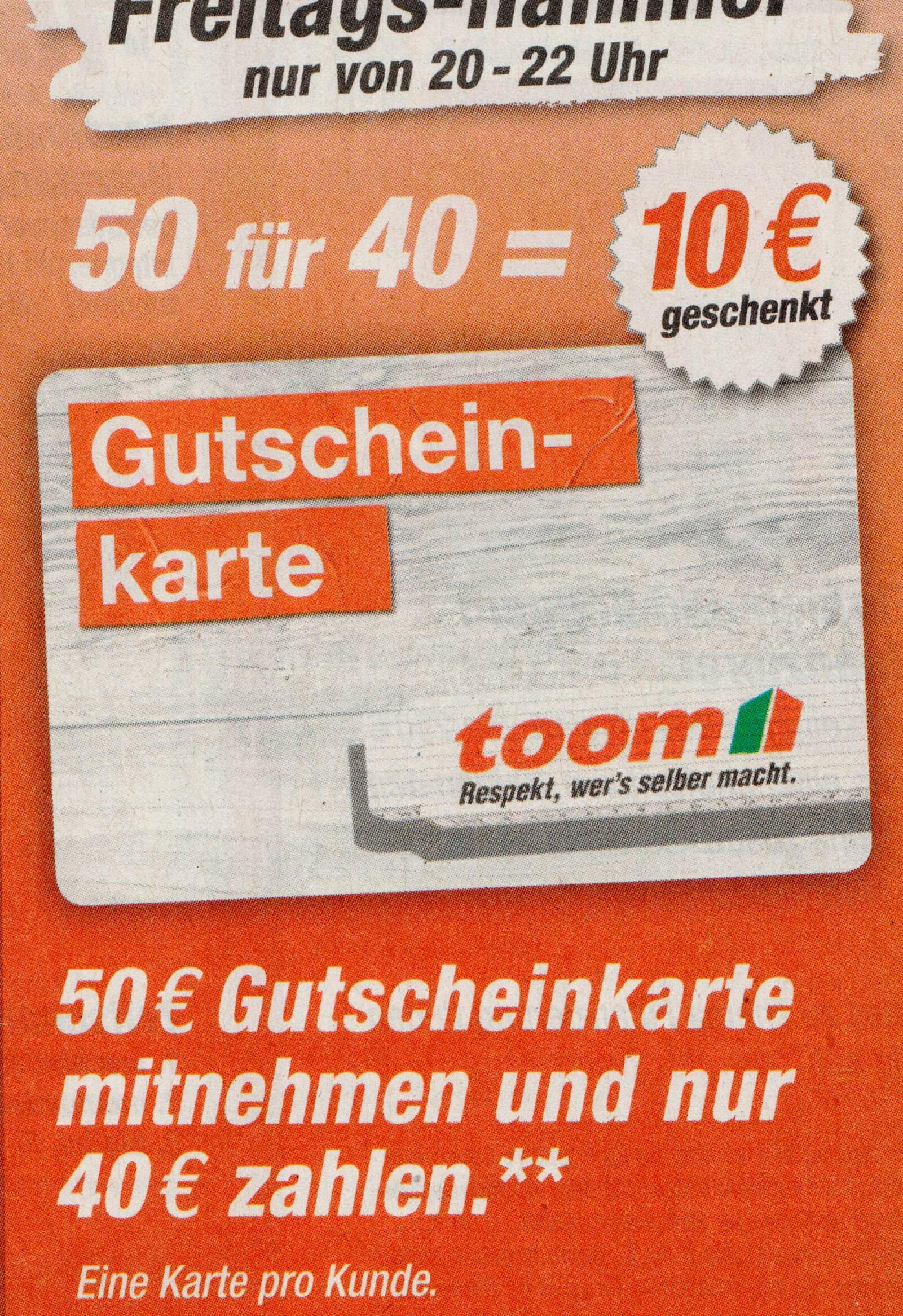 Toom Baumarkt] 50€ Gutscheinkarte für 40€ am 22.12.2017 - mydealz.de