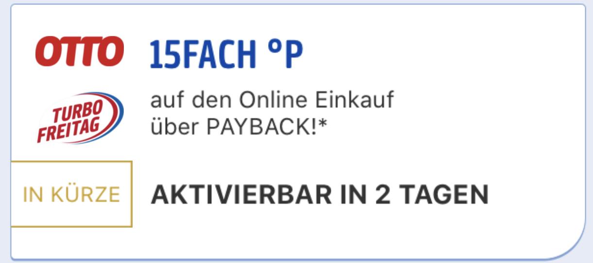Turbo Freitag: 15-fach Payback Punkte bei OTTO - nur am 10 ...