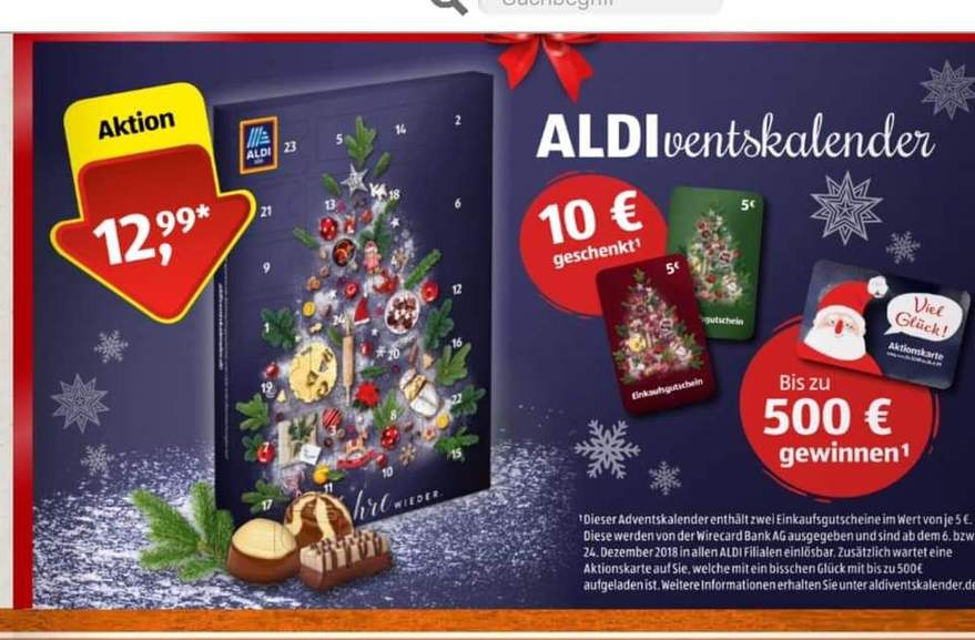 aldi bundesweit adventskalender mit min 10 gutschein oder bis zu 500. Black Bedroom Furniture Sets. Home Design Ideas