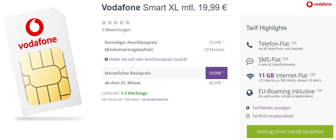 vodafone smart xl mit 11gb lte f r 19 99 monat oder. Black Bedroom Furniture Sets. Home Design Ideas