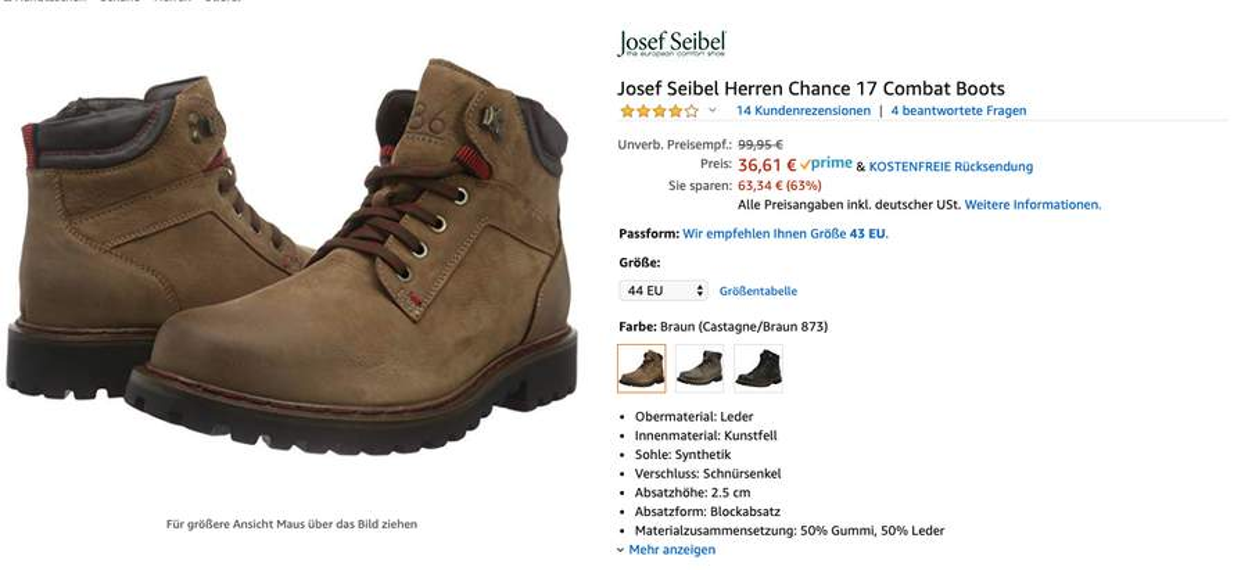 quality design 1ef83 1eeca Amazon ) Gr.44 und andere Josef Seibel Herren Chance 17 ...
