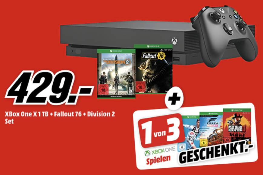 xbox one s 1tb the division 2 fallout76 entweder red. Black Bedroom Furniture Sets. Home Design Ideas