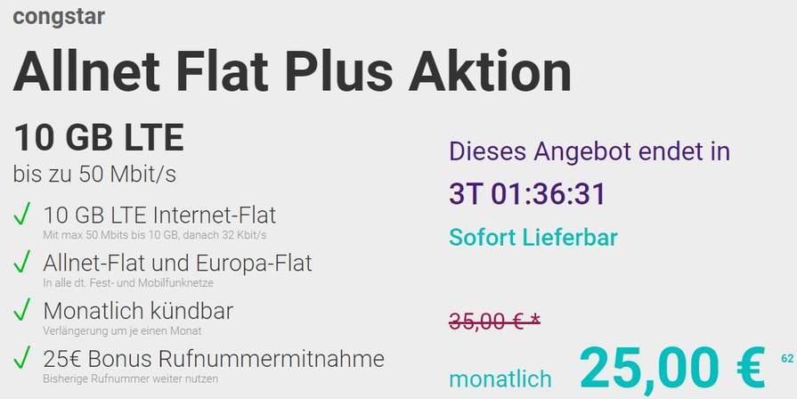 congstar allnet flat plus flex mit 10gb lte telekom netz. Black Bedroom Furniture Sets. Home Design Ideas