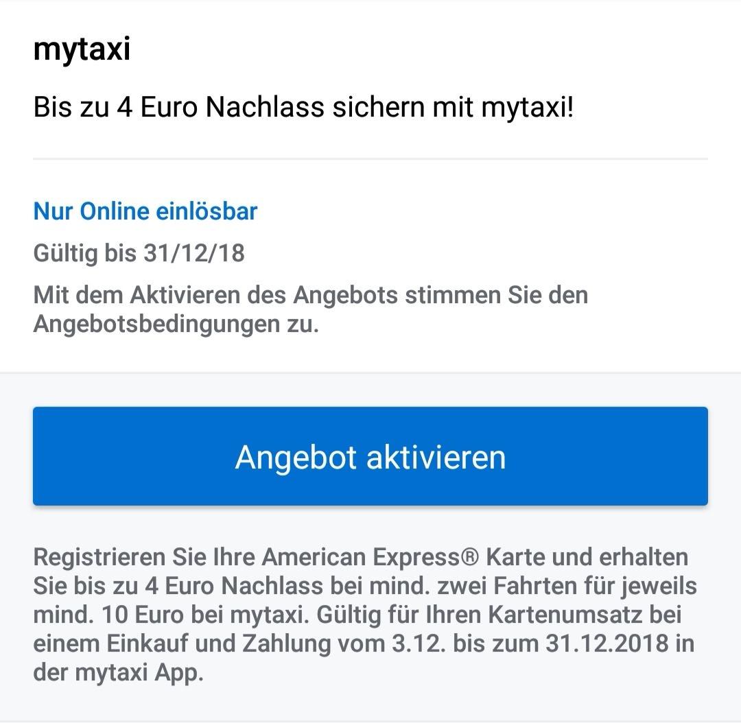 4 Cashback Für Amex Karteninhaber Bei Mytaxi Mydealzde