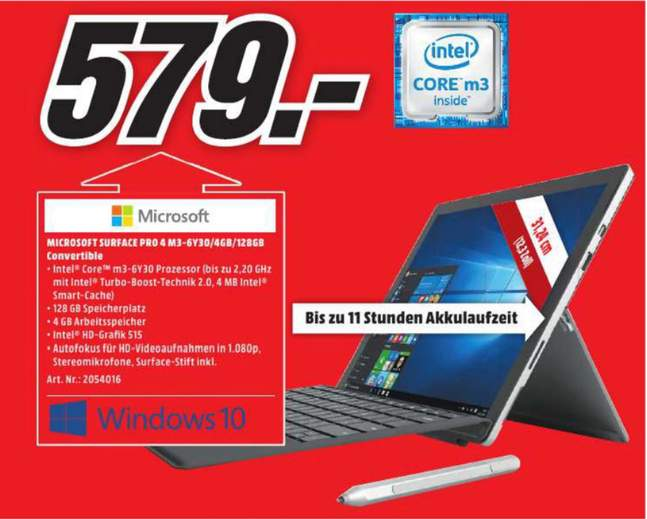 media markt elmshorn microsoft surface pro 4 m3 6y30 4gb ram 128gb mit stift f r 579. Black Bedroom Furniture Sets. Home Design Ideas
