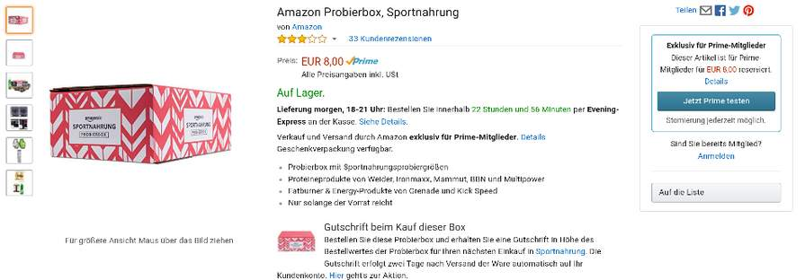 amazon prime sportnahrung probierbox mit bestellwert als gutschein in sportnahrung. Black Bedroom Furniture Sets. Home Design Ideas