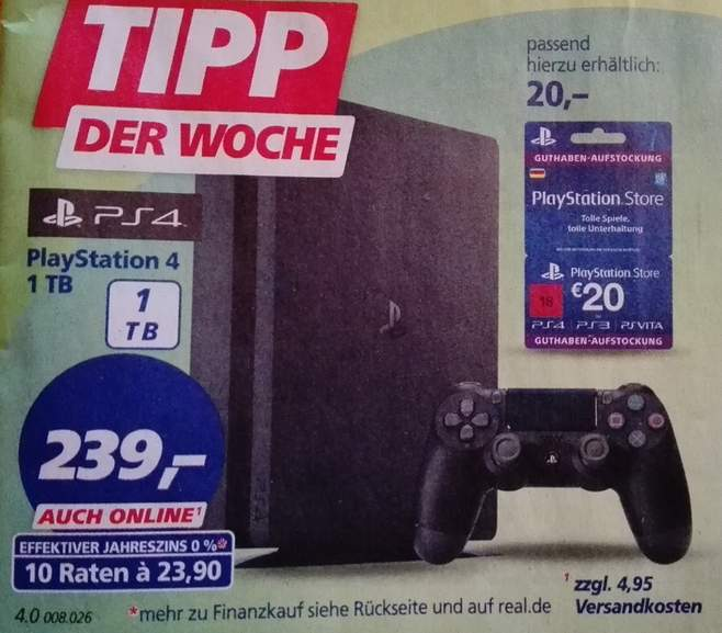 Sammeldeal real Personalkauf 29.09. - 02.10.] z.B. PS4 1TB + FIFA18 ...