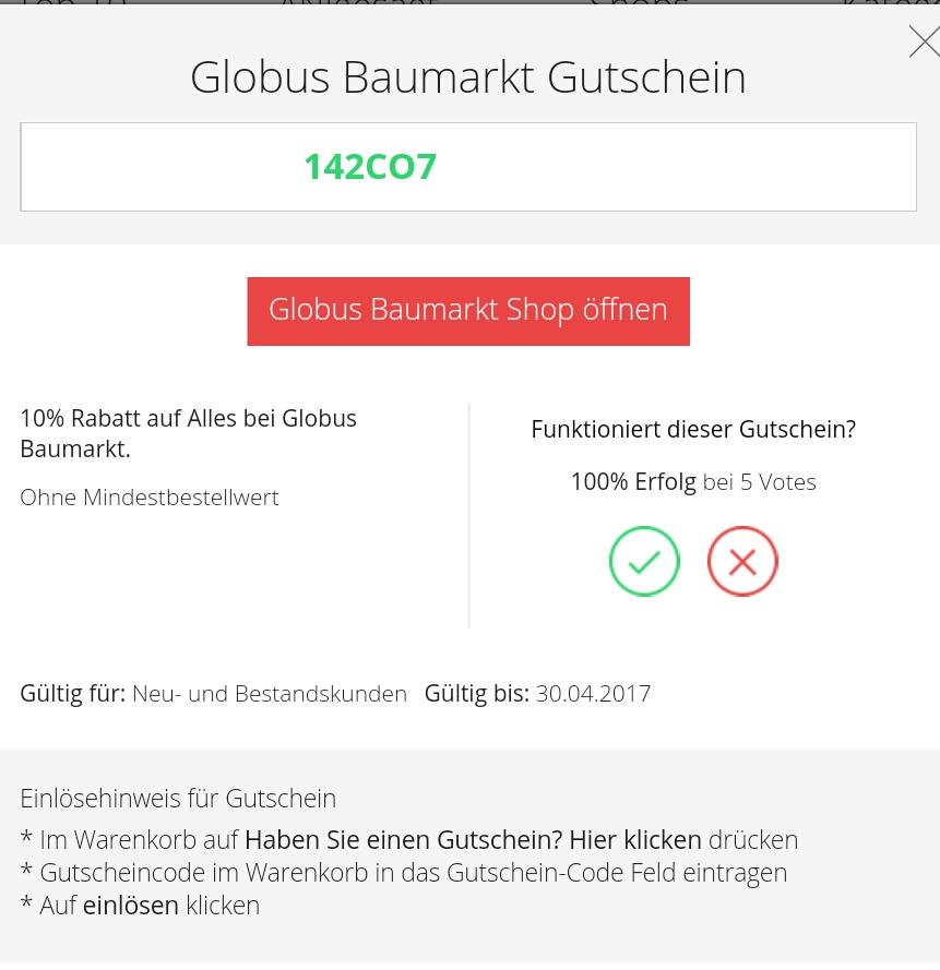 10 Auf Alles Ohne Mbw Bei Globus Baumarkt Online Nur