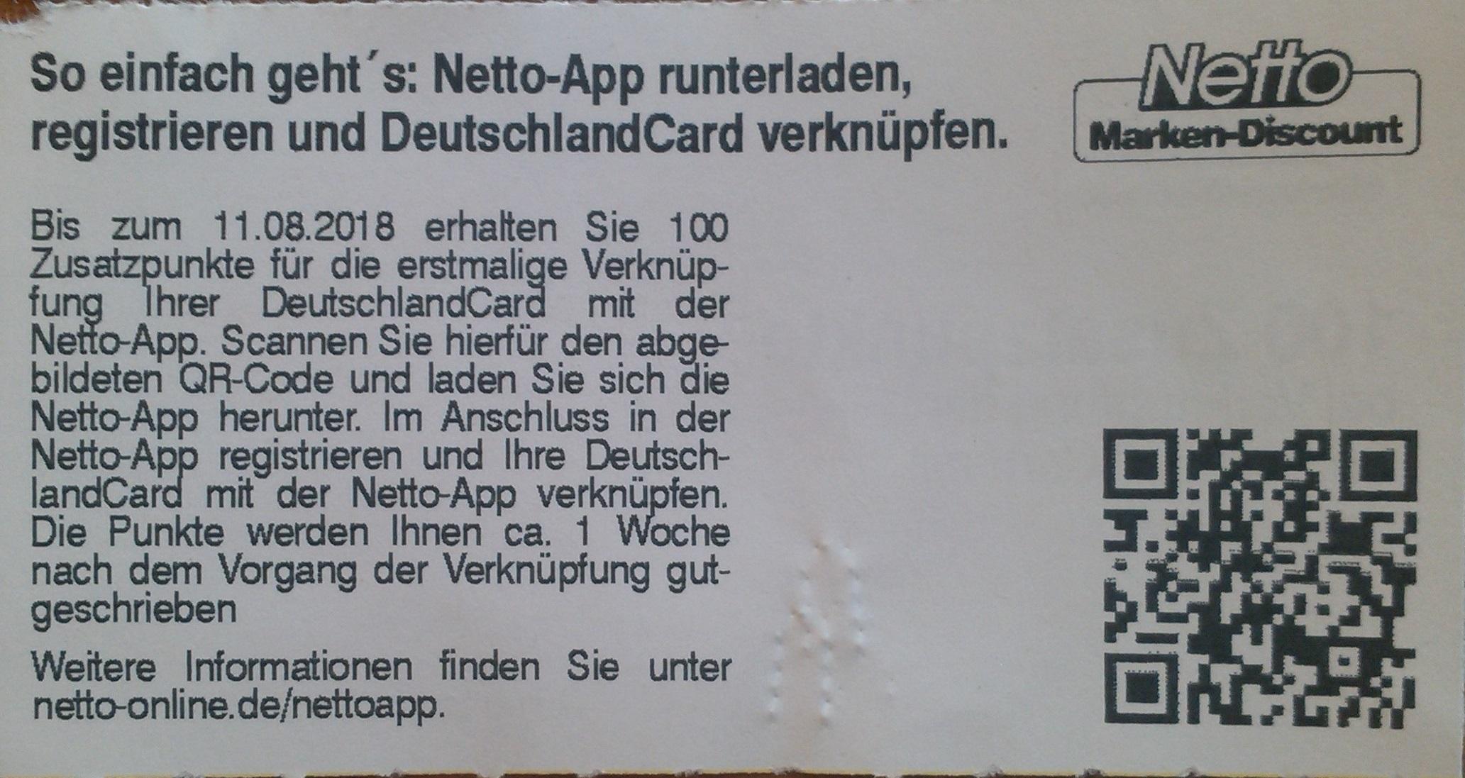 Deutschlandcard 2 Karte Anmelden.Deutschlandcard 100 Zusatzpunkte Für Netto App Erstmalig Mit