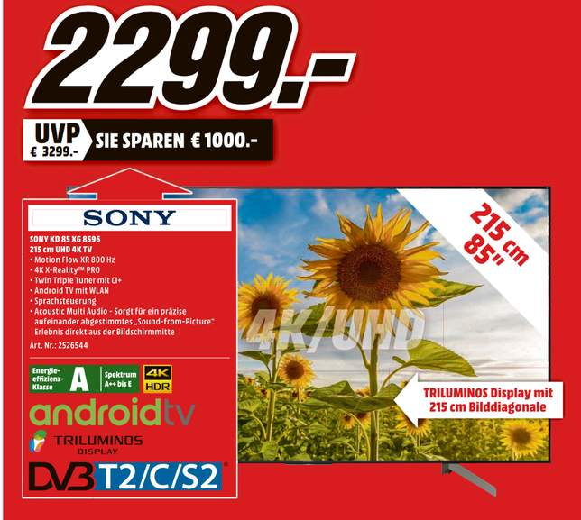 Lokal Media Markt Essen Sony Kd 85xg8596 85 4k Smart Tv