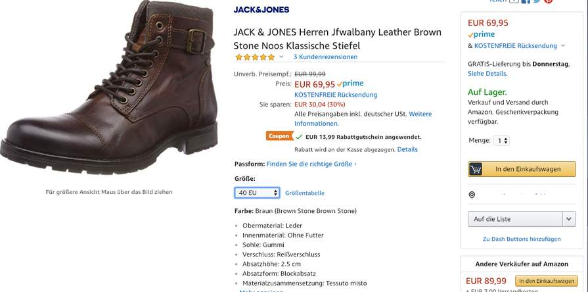 658115cf2c1 Amazon ) Gr.40-46 JACK   JONES Herren Jfwalbany Leather Brown Stone ...