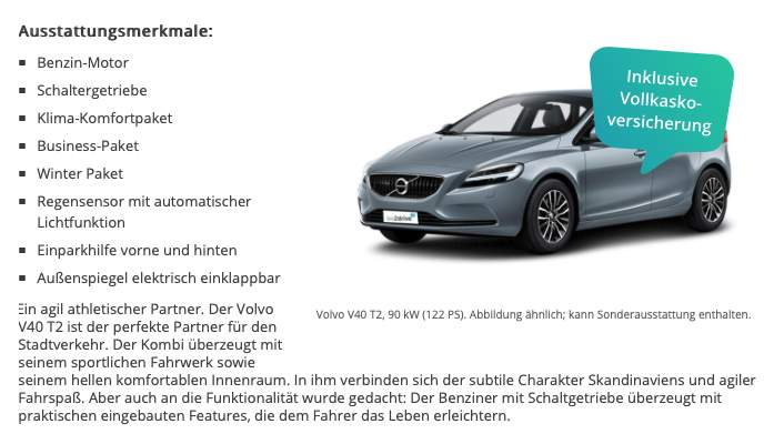 all inclusive leasing volvo v40 t2 122 ps f r mtl 289. Black Bedroom Furniture Sets. Home Design Ideas