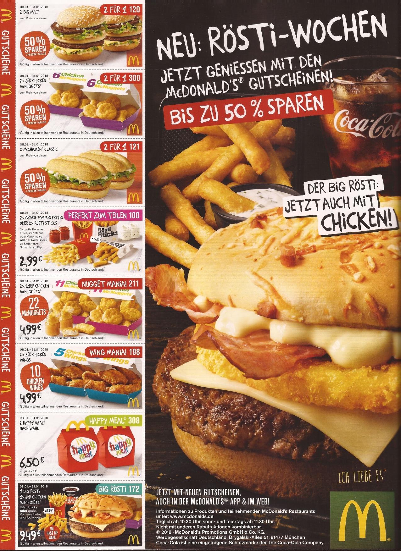 mcdonalds gutscheine essen